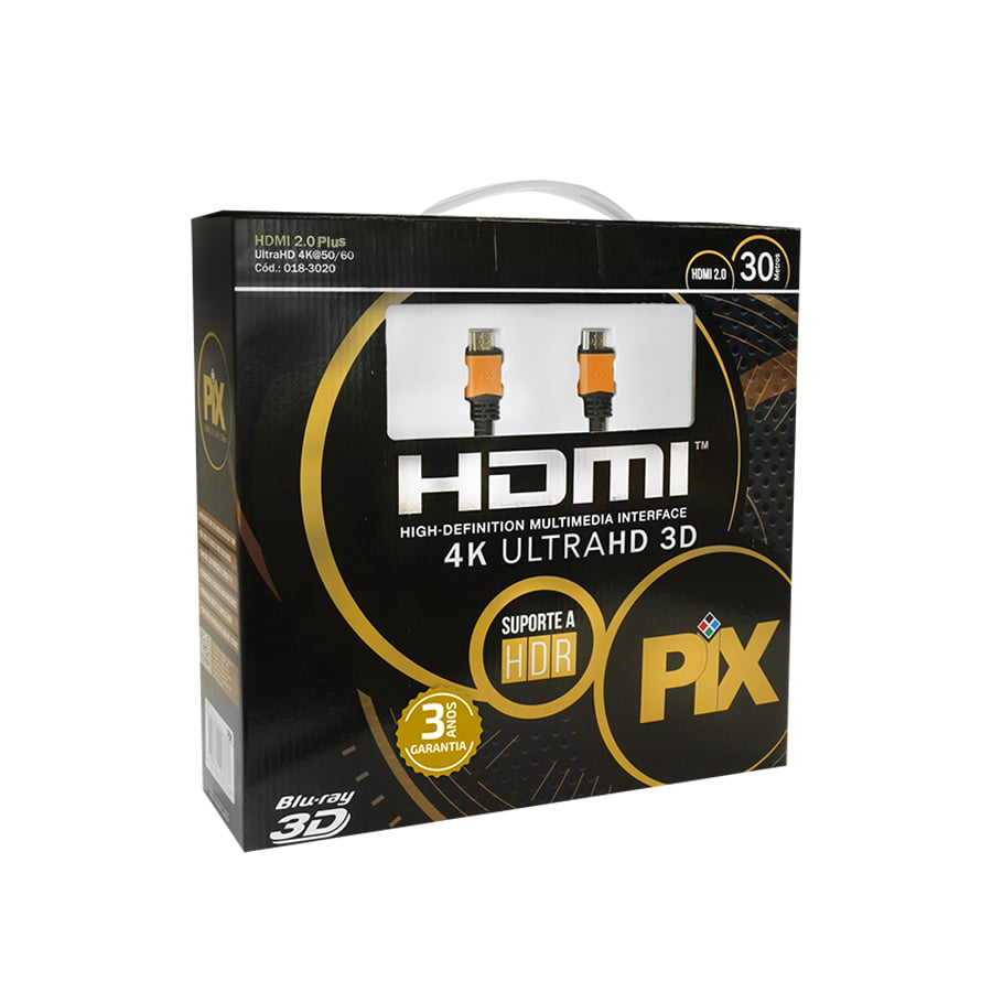 Cabo HDMI 2.0 30 Metros 4K Ultra HD Com Filtro 19 Pinos @60Hz PIX