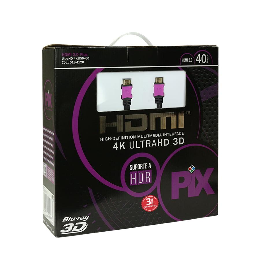 Cabo HDMI 2.0 40 Metros 4K Ultra HD Com Filtro 19 Pinos @60Hz PIX