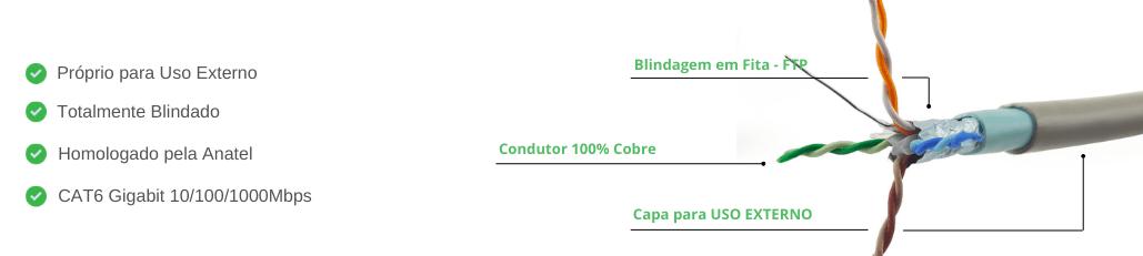 Cabo de Rede CAT6 Blindado Externo