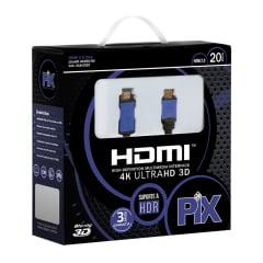 Cabo HDMI 2.0 20 Metros 4K Ultra HD Com Filtro 19 Pinos @60Hz PIX