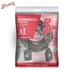 Cabo Monitor VGA x VGA 3 Metros Com Filtro
