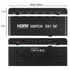 Switch HDMI 5 Portas Ativo